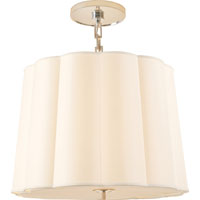 Visual Comfort Barbara Barry Simple Scallop Chandelier in Soft Silver with Silk Shade BBL5015SS-S - Open Box