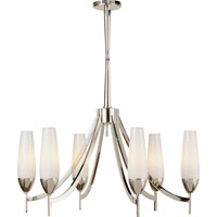 Visual Comfort Barbara Barry Bowmont 6 Light Chandelier in Polished Nickel BBL5021PN-WG