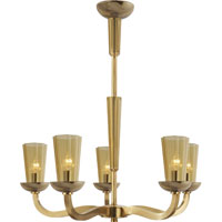 Visual Comfort Barbara Barry All Aglow Small All Aglow Chandelier in Soft Brass with Amber Glass BBL5026SB-AMB