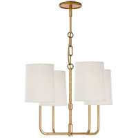 Visual Comfort Barbara Barry Go Lightly 4 Light Chandelier in Gild with Silk Shade BBL5080G-S