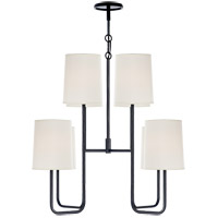 Visual Comfort Barbara Barry Go Lightly 8 Light Chandelier in Charcoal with Silk Shade BBL5081C-S