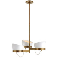 Visual Comfort BBL5150SB-WHT Barbara Barry Lightwell LED 32 inch Soft Brass Triple Chandelier Ceiling Light, Medium