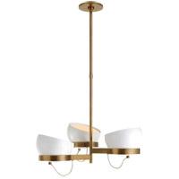 Visual Comfort BBL5150SB-WHT Barbara Barry Lightwell LED 32 inch Soft Brass Triple Chandelier Ceiling Light Medium