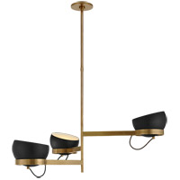 Visual Comfort BBL5151SB-BLK Barbara Barry Lightwell LED 52 inch Soft Brass Triple Chandelier Ceiling Light, Grande