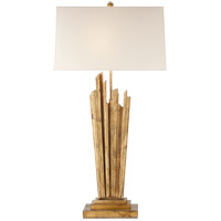Visual Comfort E.F. Chapman Claymore 2 Light 42-inch Table Lamp in Gilded Iron, Large, Natural Paper Shade CHA3626GI-NP
