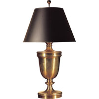 E. F. Chapman Classical 35 inch 100 watt Antique-Burnished Brass Decorative Table Lamp Portable Light in Antique Burnished Brass, Black Paper