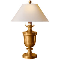 Visual Comfort CHA8172AB-NP E. F. Chapman Classical 24 inch 40 watt Antique-Burnished Brass Decorative Table Lamp Portable Light in Natural Paper