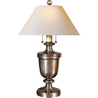 E. F. Chapman Classical 24 inch 40 watt Antique Nickel Decorative Table Lamp Portable Light in Natural Paper
