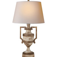 Visual Comfort E.F. Chapman Regency 1 Light Decorative Table Lamp in Old White with Antique Gold leaf CHA8355WGL-NP