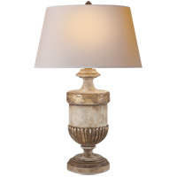 Visual Comfort E. F. Chapman Chunky 29 inch 100 watt Old White with Antique Gold leaf Decorative Table Lamp Portable Light CHA8359WGL-NP - Open Box