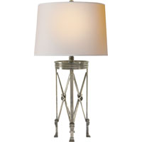 Visual Comfort Chart House Regency Stand Table Lamp in Sheffield Nickel with Natural Paper Shade CHA8465SN-NP