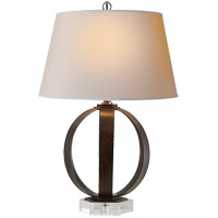 E. F. Chapman Metal Banded 29 inch 100 watt Aged Iron with Wax Decorative Table Lamp Portable Light