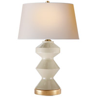 Visual Comfort CHA8666ICO-NP E. F. Chapman Weller Zig-Zag 27 inch 150 watt Coconut Porcelain Table Lamp Portable Light, E.F. Chapman, Zig-Zag, Natural Paper Shade