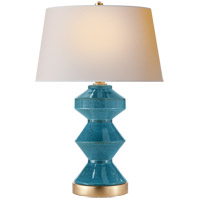 E. F. Chapman Weller Zig-Zag 27 inch 150 watt Oslo Blue Table Lamp Portable Light, E.F. Chapman, Zig-Zag, Natural Paper Shade