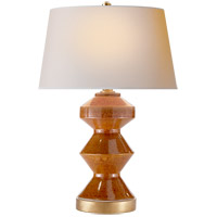 Visual Comfort CHA8666SHB-NP E. F. Chapman Weller Zig-Zag 27 inch 150 watt Shanghai Brown Table Lamp Portable Light, E.F. Chapman, Zig-Zag, Natural Paper Shade