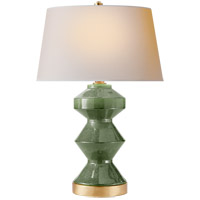 Visual Comfort CHA8666SHK-NP E. F. Chapman Weller Zig-zag 27 inch 150 watt Shellish Kiwi Table Lamp Portable Light, E.F. Chapman, Zig-Zag, Natural Paper Shade photo thumbnail