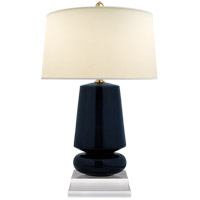Visual Comfort E.F. Chapman Parisienne 29-inch Table Lamp in Denim Porcelain, Small, Natural Percale Shade CHA8668DM-PL