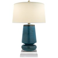 E. F. Chapman Parisienne 29 inch 150 watt Oslo Blue Table Lamp Portable Light, E.F. Chapman, Small, Natural Percale Shade
