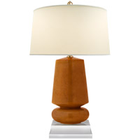 Visual Comfort E.F. Chapman Parisienne 29-inch Table Lamp in Shanghai Brown, Small, Natural Percale Shade CHA8668SHB-PL