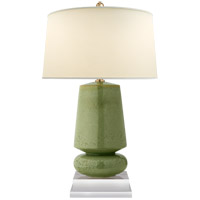 E. F. Chapman Parisienne 29 inch 150 watt Shellish Kiwi Table Lamp Portable Light, E.F. Chapman, Small, Natural Percale Shade