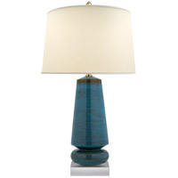 E. F. Chapman Parisienne 35 inch 150 watt Oslo Blue Table Lamp Portable Light, E.F. Chapman, Medium, Natural Percale Shade