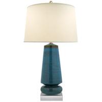 Visual Comfort CHA8670OSB-PL E. F. Chapman Parisienne 35 inch 150 watt Oslo Blue Table Lamp Portable Light, E.F. Chapman, Medium, Natural Percale Shade