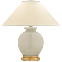 E.F. Chapman Chang 18 inch 60 watt Coconut Porcelain Table Lamp Portable Light, E.F. Chapman, Small, Natural Percale Shade
