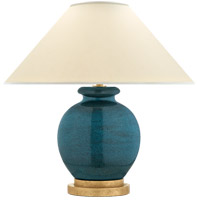 E.F. Chapman Chang 18 inch 60 watt Oslo Blue Table Lamp Portable Light, E.F. Chapman, Small, Natural Percale Shade