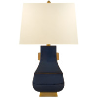 E. F. Chapman Kang Jug 29 inch 100 watt Mixed Blue Brown with Burnt Gold Table Lamp Portable Light, Large
