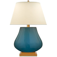 E. F. Chapman Taiping 30 inch 100 watt Oslo Blue Table Lamp Portable Light, base made of wood
