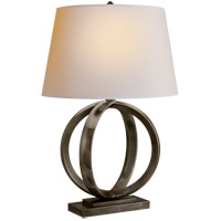 Visual Comfort E.F. Chapman Quattro 1 Light Table Lamp in Bronze with Natural Paper Shade CHA8974BZ-NP