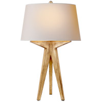 E.F. Chapman Russell 29 inch 150 watt Gilded Iron Table Lamp Portable Light in Natural Paper, E.F. Chapman, Modern, Tripod, Natural Paper Shade