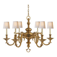 Visual Comfort E.F. Chapman Georgian 6 Light Chandelier in Antique-Burnished Brass CHC1111AB
