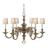 Visual Comfort E.F. Chapman Georgian 6 Light Chandelier in Antique Nickel CHC1111AN