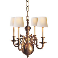 Visual Comfort E.F. Chapman 18th Century 4 Light Chandelier in Antique-Burnished Brass CHC1115AB