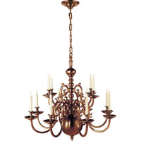 Visual Comfort E.F. Chapman 18th Century 12 Light Chandelier in Antique-Burnished Brass CHC1118AB