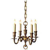 E.F. Chapman English 4 Light 13 inch Antique-Burnished Brass Chandelier Ceiling Light in Antique Burnished Brass