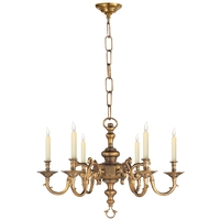 Visual Comfort E.F. Chapman Georgian 6 Light Chandelier in Antique-Burnished Brass (Shades Sold Separately) CHC1131AB