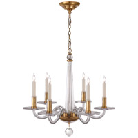 Visual Comfort CHC1139AB E. F. Chapman Robinson 6 Light 18 inch Crystal with Brass Chandelier Ceiling Light in Antique Burnished Brass