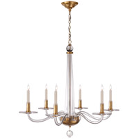 E. F. Chapman Robinson 6 Light 32 inch Crystal with Brass Chandelier Ceiling Light in Antique Burnished Brass