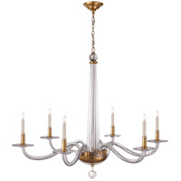 E. F. Chapman Robinson 6 Light 38 inch Crystal with Brass Chandelier Ceiling Light in Antique Burnished Brass