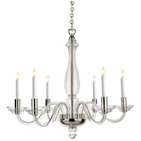 Visual Comfort E.F. Chapman King George 6 Light Chandelier in Crystal with Polished Silver CHC1142CG