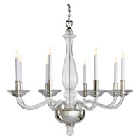 Visual Comfort E.F. Chapman George 8 Light Chandelier in Crystal with Polished Silver CHC1143CG