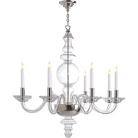 Visual Comfort E.F. Chapman George 8 Light Chandelier in Crystal with Polished Silver CHC1144CG