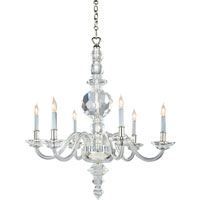 Visual Comfort E.F. Chapman George II 6 Light Chandelier in Crystal with Polished Silver CHC1152CG