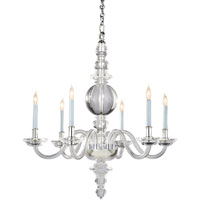 Visual Comfort E.F. Chapman George II 6 Light Chandelier in Crystal with Polished Silver CHC1154CG