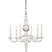 Visual Comfort E.F. Chapman George II 6 Light Chandelier in Crystal with Polished Silver CHC1155CG