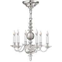 E.F. Chapman George Ii 6 Light 14 inch Crystal with Polished Nickel Mini Chandelier Ceiling Light, E.F. Chapman