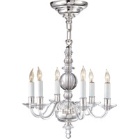 Visual Confort E.F. Chapman George II 6 Light Chandelier in Crystal with Polished Nickel CHC1156CG/PN