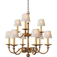 Visual Comfort Chart House Medium Two Tier Sussex Chandelier in Antique-Burnished Brass CHC1172AB
